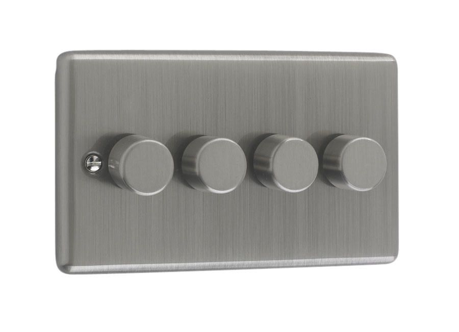 250W 4 Gang Brushed Chrome Dimmer Switch