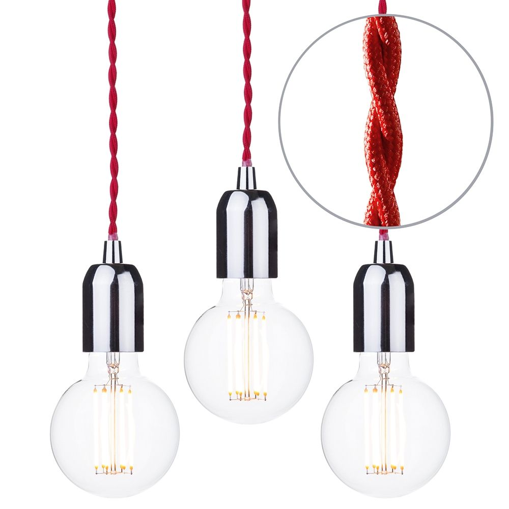 Pack of 3 Decorative Red Braided Cable Kit with Nickel Fitting and 6 Watt LED Filament Globe Bulb Clear