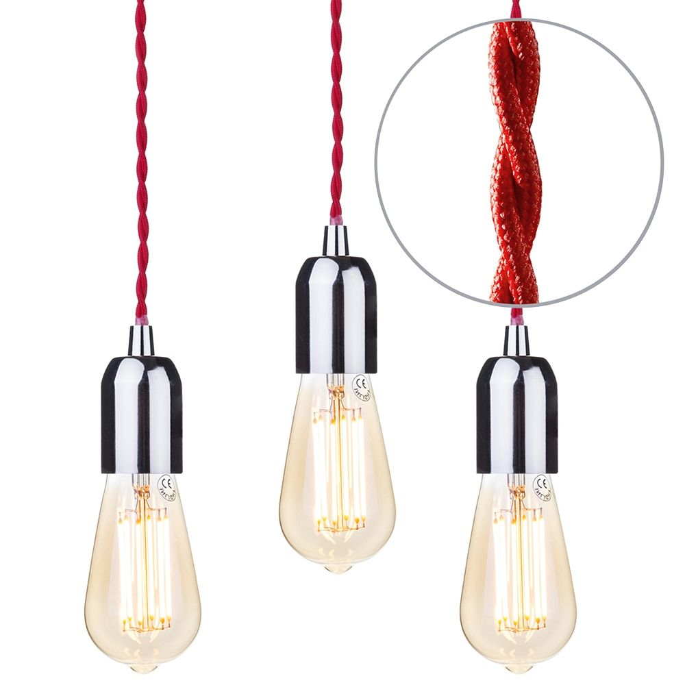 Pack of 3 Decorative Red Braided Cable Kit with Nickel Fitting and 6 Watt LED Filament Teardrop Bulb Gold Tint